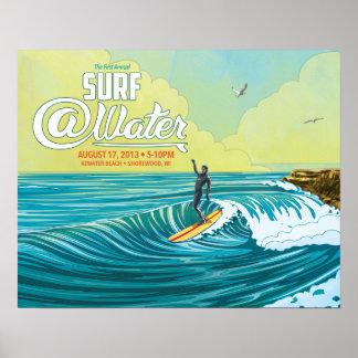 "Surfe o cartaz 20"" do surfista do @Water x 16"" Pôster"