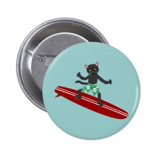 Surfista de Longboard do gato preto Bóton Redondo 5.08cm