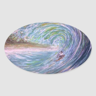 surfista do roxo da onda da praia adesivo oval