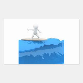Surfista dos desenhos animados - etiqueta adesivo retangular