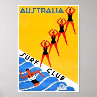 Surfista surfando do surf do poster de viagens de