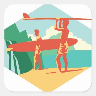 Surfistas de Kauai Adesivo Quadrado