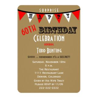 Surpreenda 60th Bunting dos convites de festas de