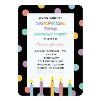 Surpreenda a 75th festa de aniversário colorida e convite 12.7 x 17.78cm