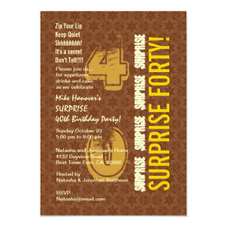 SURPREENDA o 40th aniversário moderno Brown e o Convite Personalizado