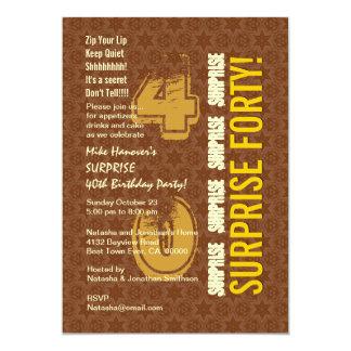 SURPREENDA o 40th aniversário moderno Brown e o Convite 12.7 X 17.78cm