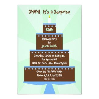 Surpreenda o 60th bolo do convite de aniversário