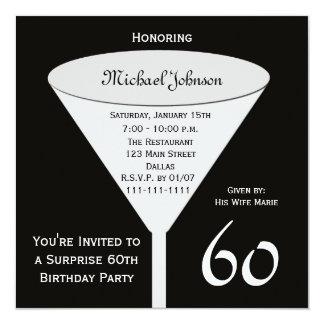 Surpreenda o 60th convite de aniversário convite quadrado 13.35 x 13.35cm