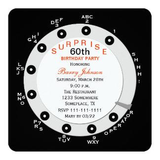 Surpreenda o 60th convite de aniversário giratório convite quadrado 13.35 x 13.35cm