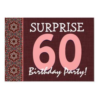 Surpreenda o 60th rosa da festa de aniversário e o convites personalizado