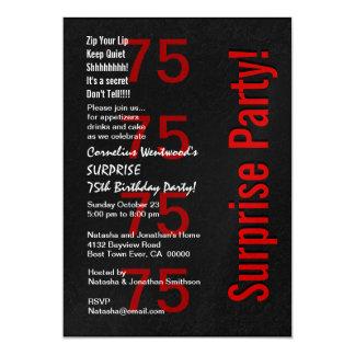 SURPREENDA o 75th aniversário Ver vermelho branco Convite 12.7 X 17.78cm