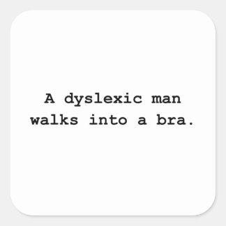 Sutiã do homem do Dyslexic Adesivo Quadrado