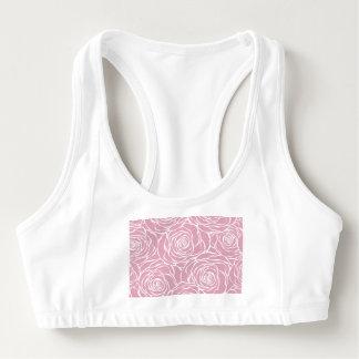 Sutiã Esportivo Peônias, floral, branco, cor-de-rosa, teste