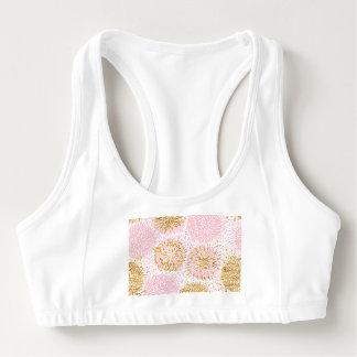 Sutiã Esportivo Teste padrão floral moderno, ouro, rosa, branco,