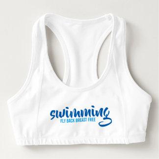 Sutiã Esportivo Texto tipográfico nadador do peito da mosca para
