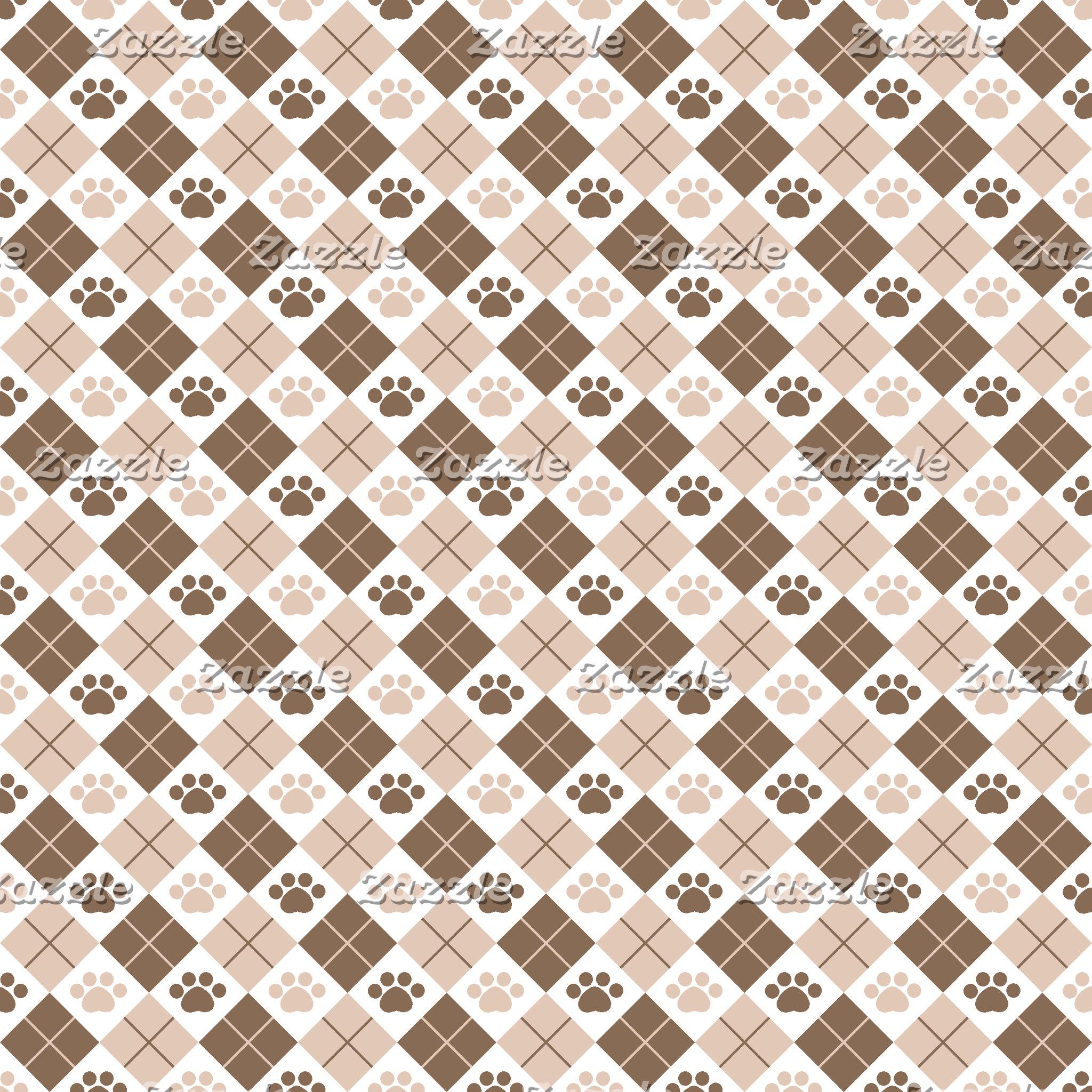 Argyle Paw Print Patterns