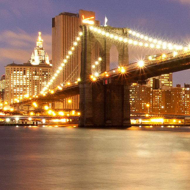 Brooklyn Bridge and Manhattan at Night.