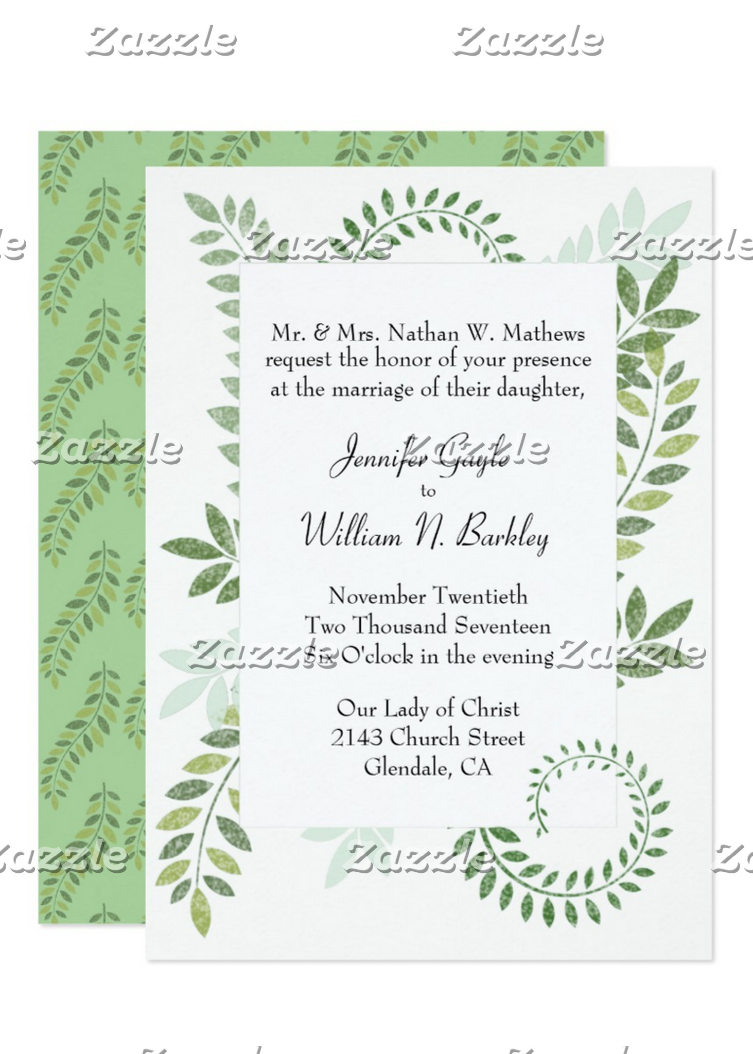 Green Ferns Wedding Set