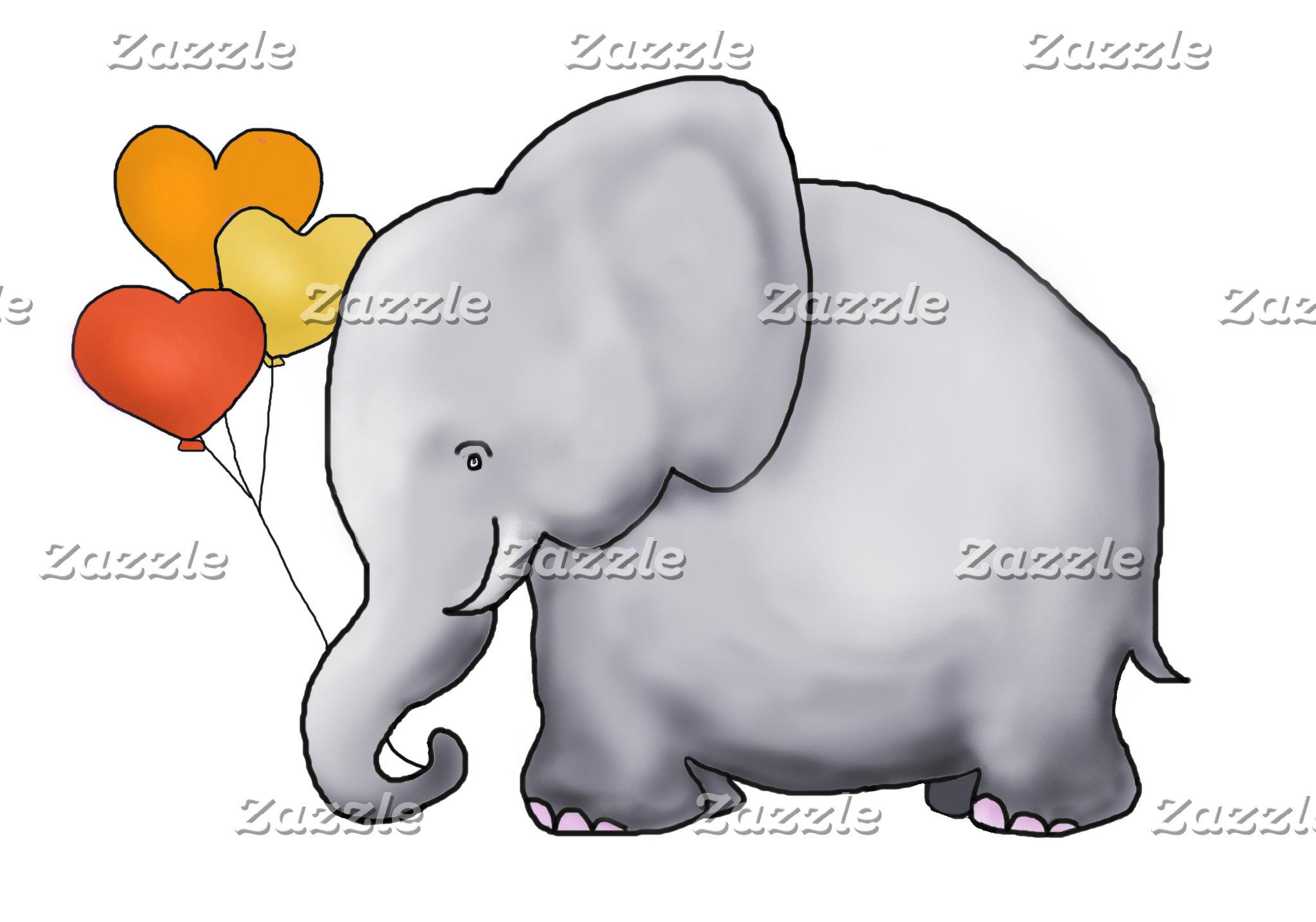 Cartoon Elephant with Heart Balloons