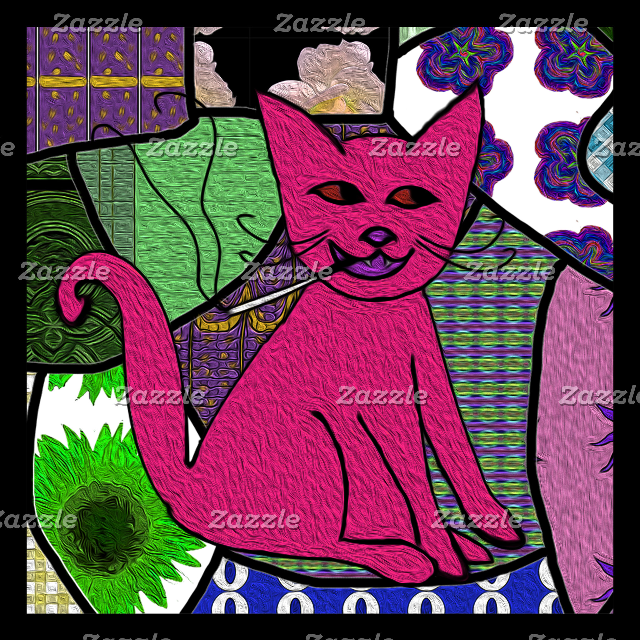 Modern Folk Art Smoking Cat