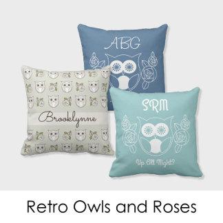 Retro Owls and Roses