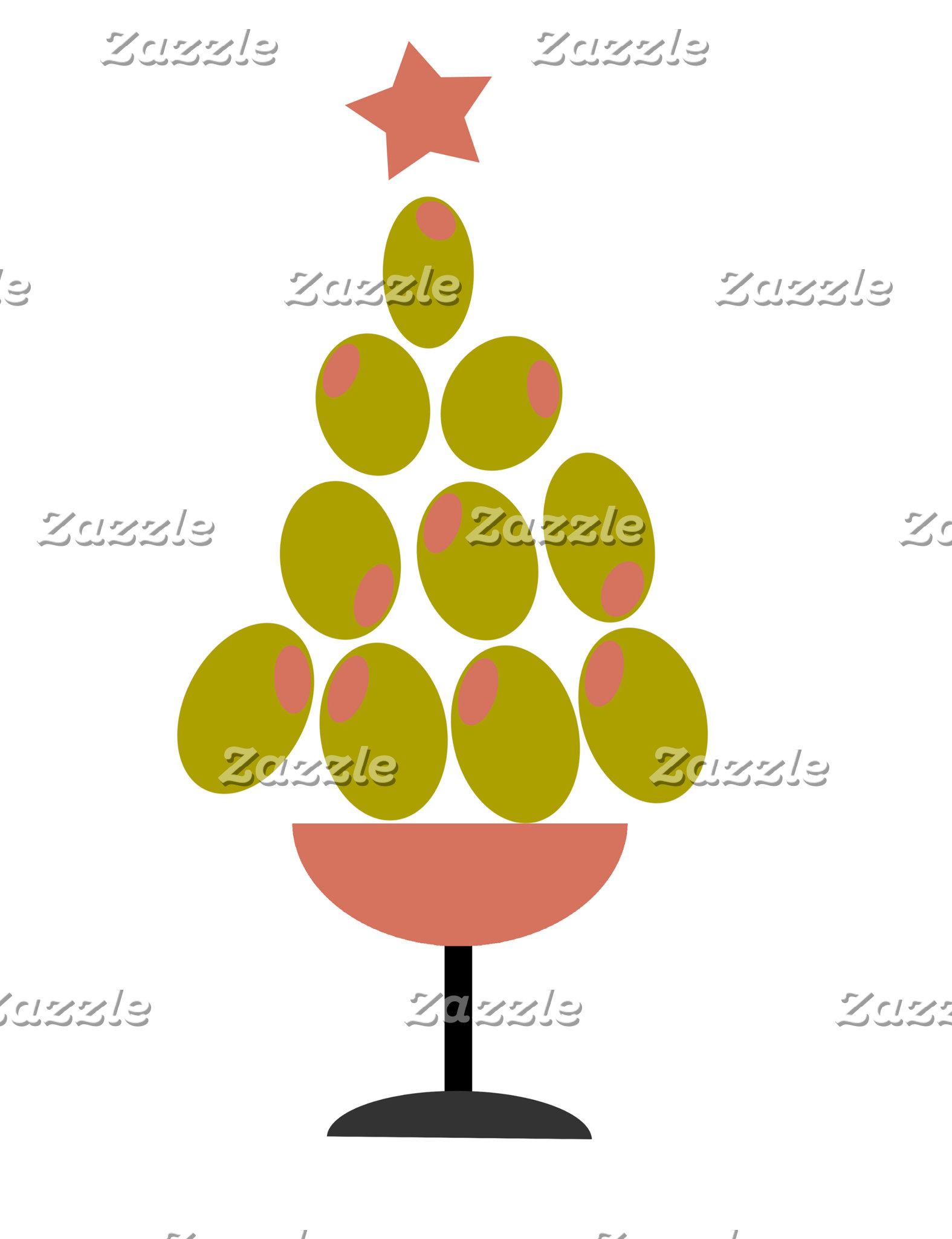 Olive Christmas tree cards/invitations