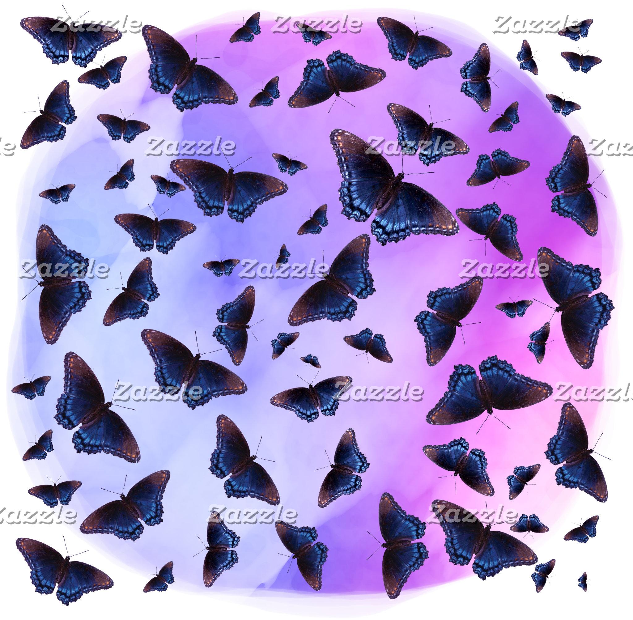 Blue Butterflies Purple Sunset Designs