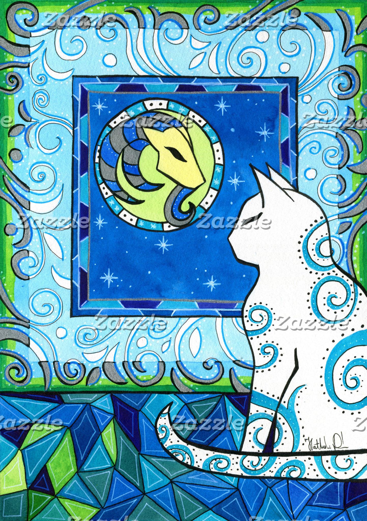 Cat Art - Capricorn Cat Zodiac