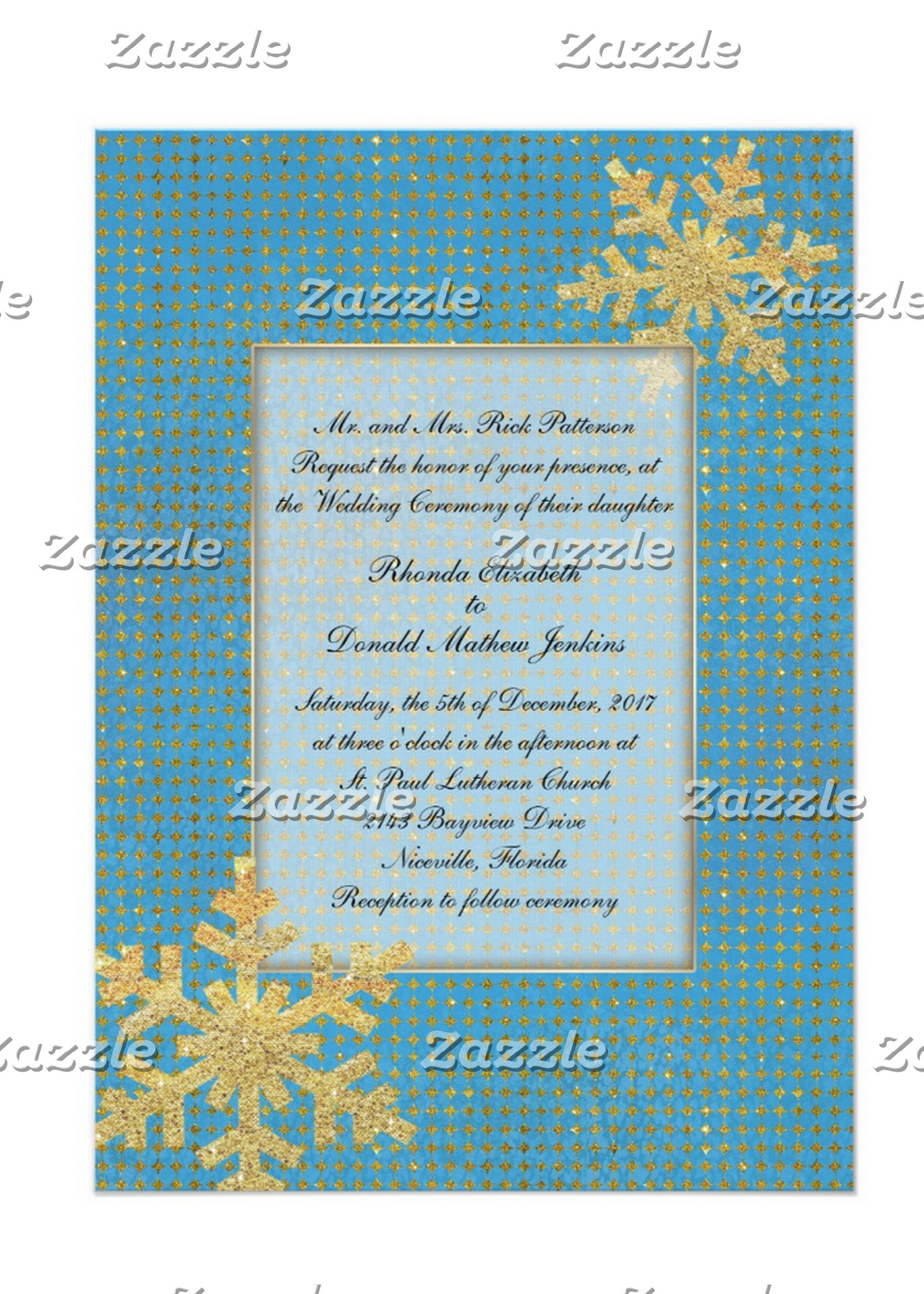 Turquoise and Gold Snowflake Wedding Set