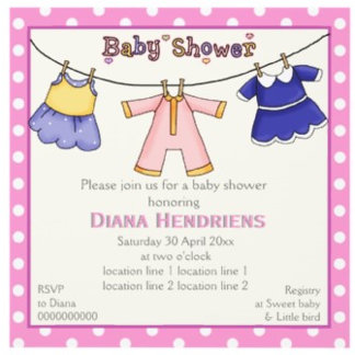 Clothesline baby shower