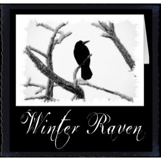 B&W Winter Raven Edgar Allan Poe