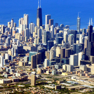 Aerial view of Chicago Downtown with Lake