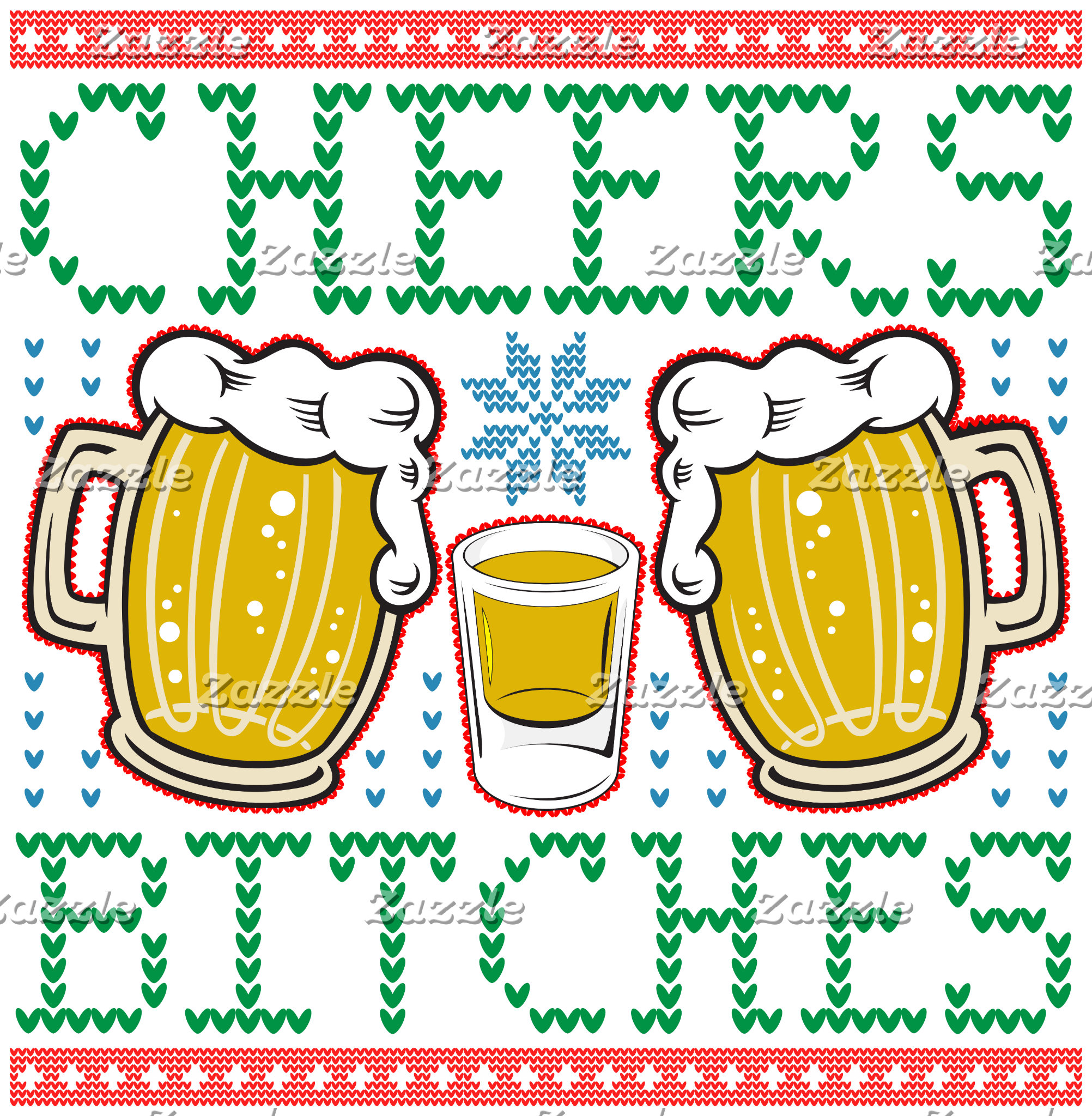 Cheers Bitches Beer Mugs Ugly Christmas Sweater