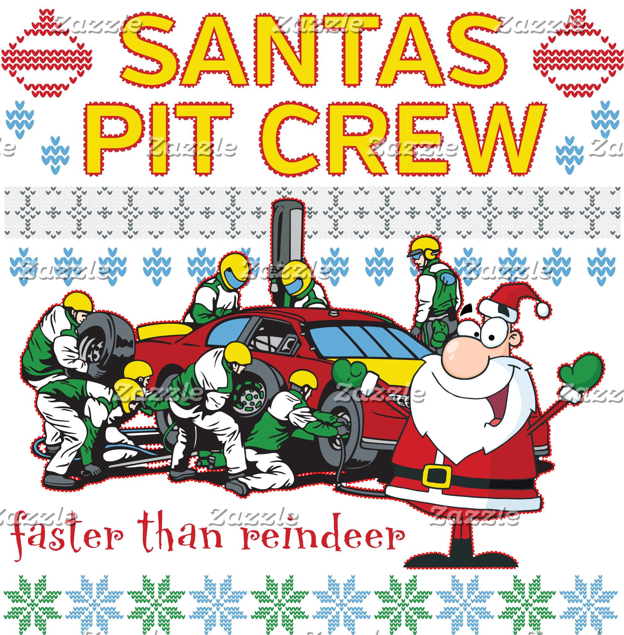 Santa Pit Crew Race Car