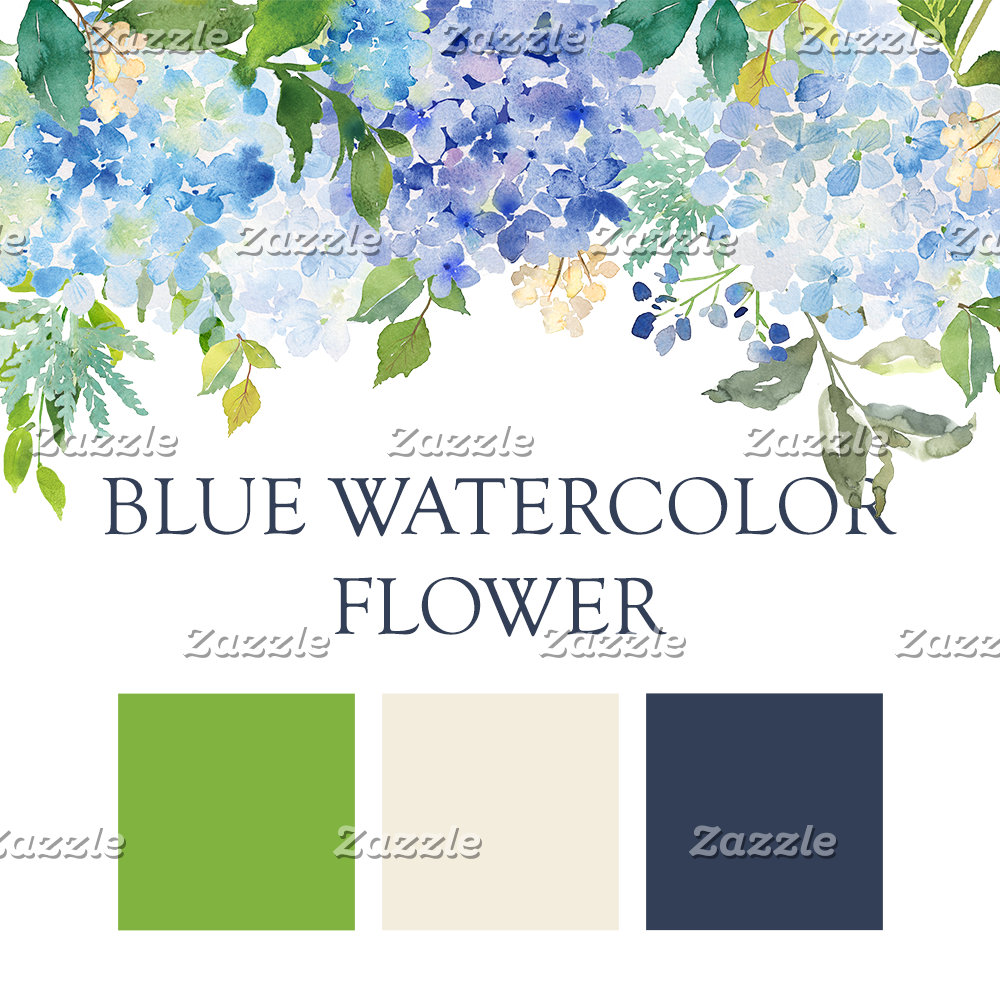 Blue Watercolor Flower Wedding