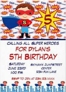 Superhero Kids Birthday Party Invitations