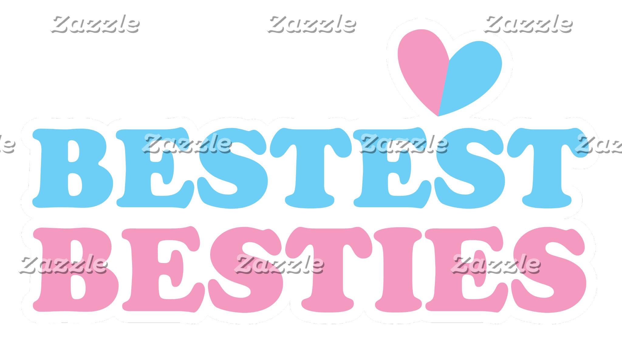 BESTEST BESTIES with cute hearts BFF best friends