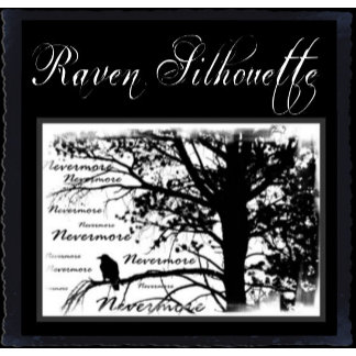 Black & White Nevermore Raven Silhouette