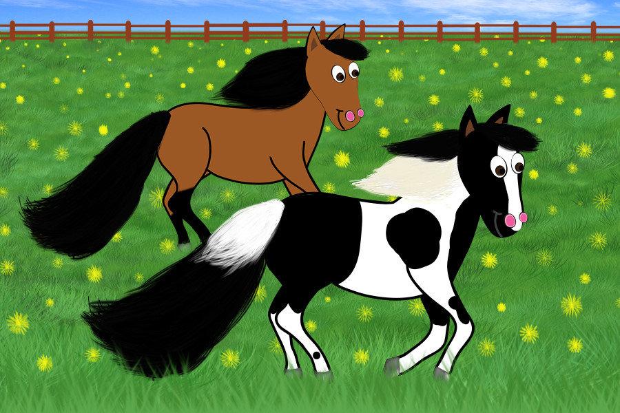 Cartoon Horses Running in Field