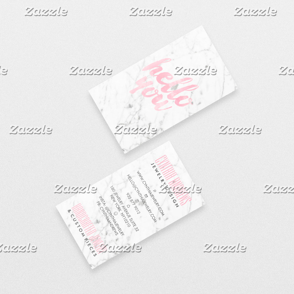 Modern white marble elegant pink hello typography
