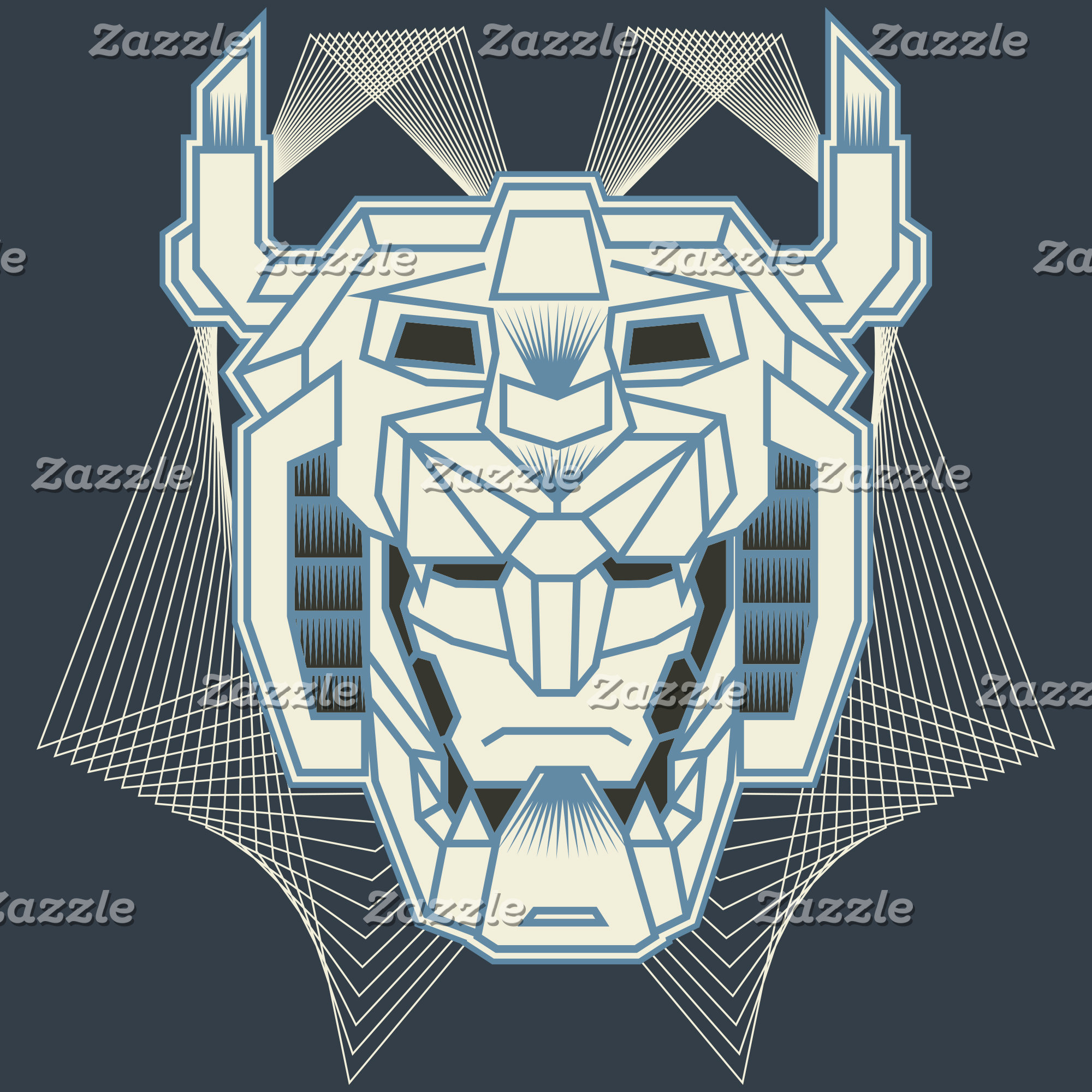 Voltron   Voltron Head Blue and White Outline