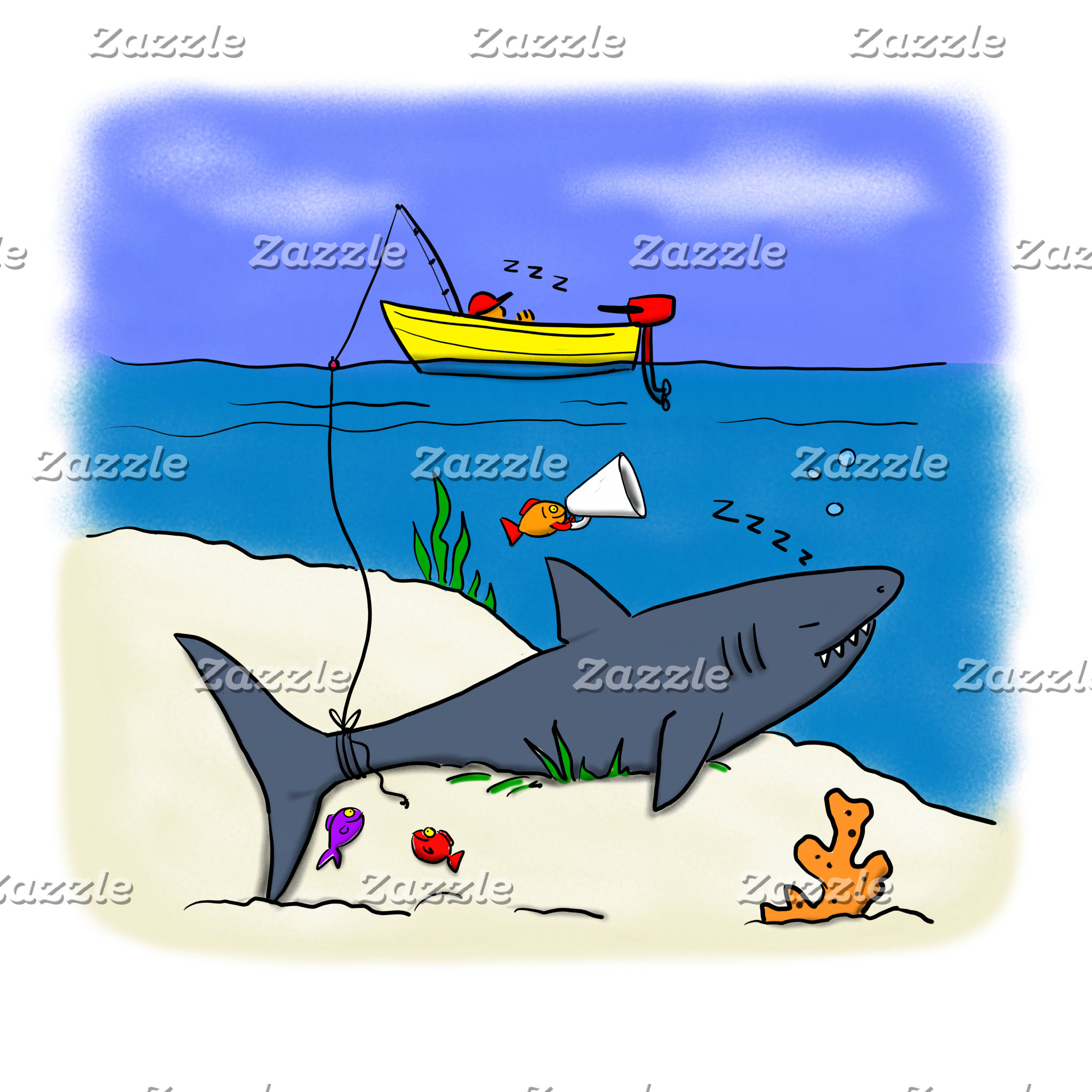 Fish, whales and other underwater Cartoons.