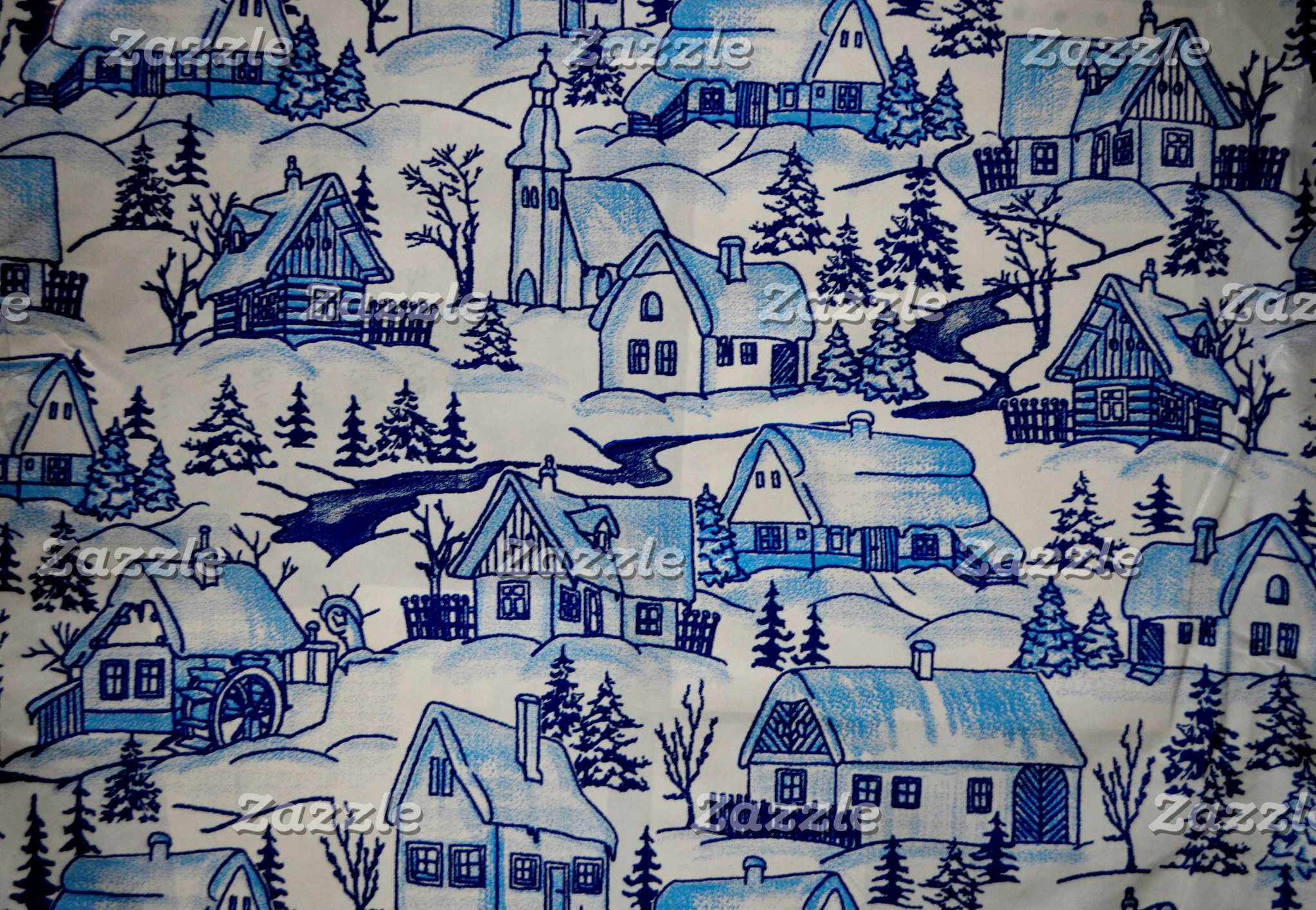 Blue Christmas Holiday Village