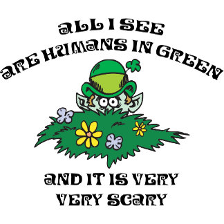 Funny Leprechaun - Humans In Green T-Shirts