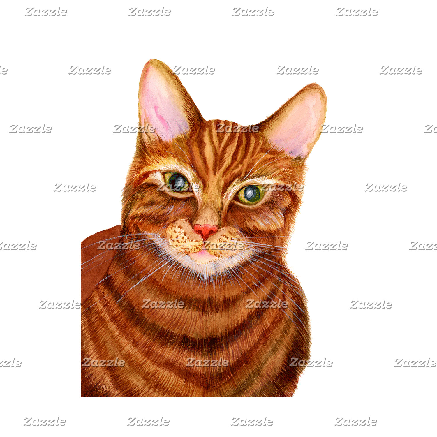 Ginger Cat Watercolour Artwork Print