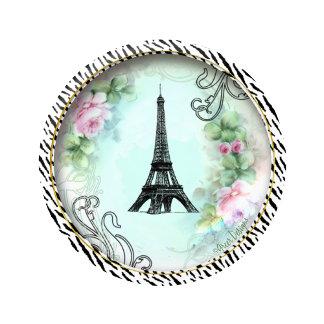 Eiffel Tower Pink Roses & Zebra Print