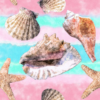 Sea Shells Pink and Turquoise Watercolor
