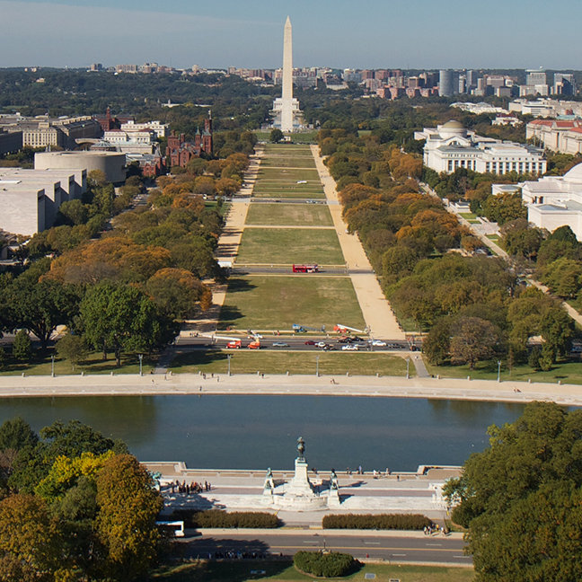 A landscape view of Washington DC