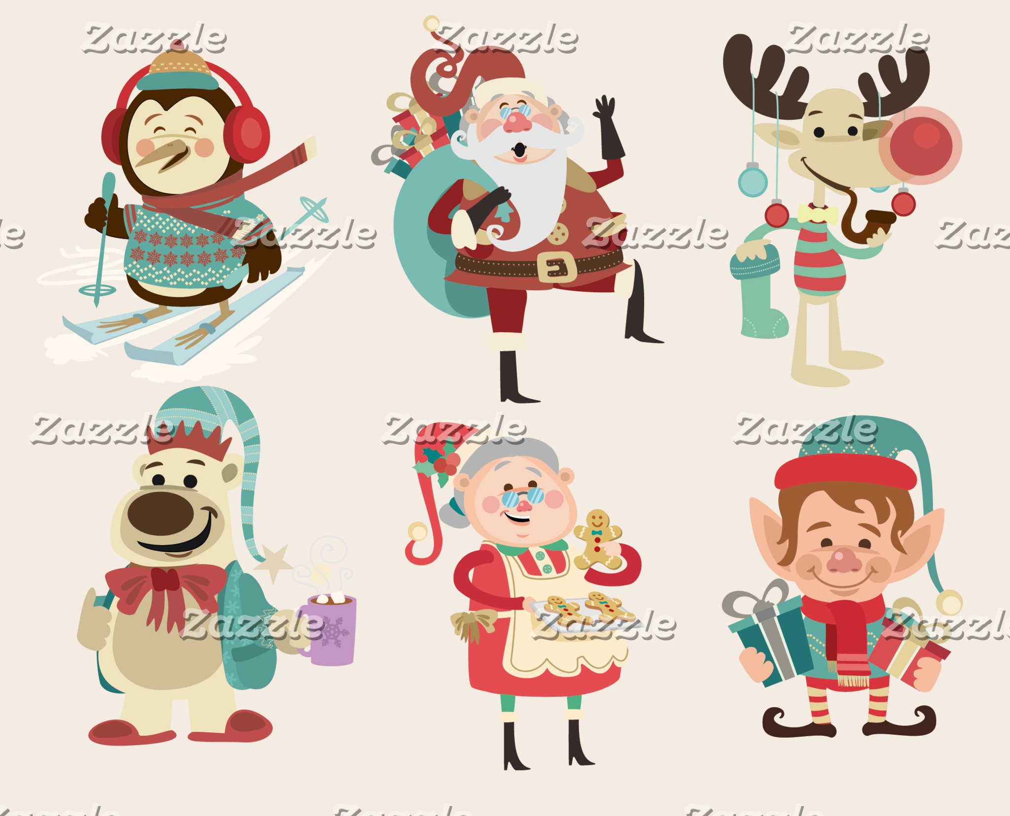 6 Cartoon Christmas Characters