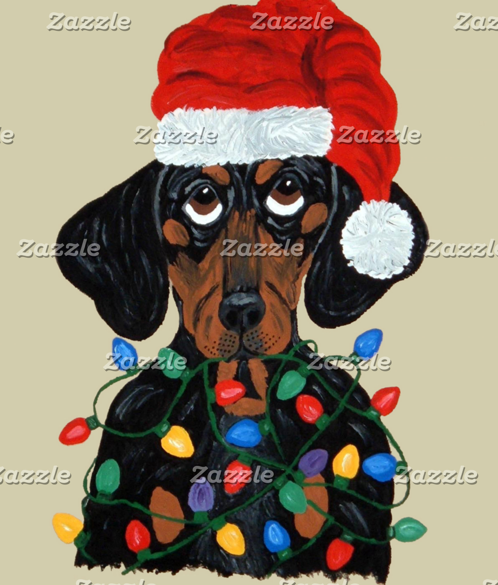 Dachshund Santa Tangled In Christmas Lights